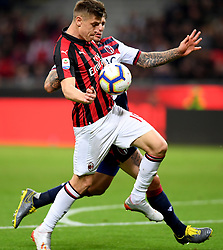 MILAN, May 7, 2019  AC Milan's Krzysztof Piatek (front) competes during a Serie A soccer match between AC Milan and Bologna in Milan, Italy, May 6, 2019. AC Milan won 2-1. (Credit Image: © Daniele Mascolo/Xinhua via ZUMA Wire)