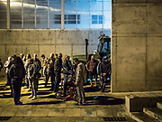 A farm tractor stays parked in front of the polling center at the municipal sports center where is expected to vote the Catalan President, Carles Puigdemont, in Sant Julia de Rais, Girona, Catalonia, on 01 October 2017. Many people have arrived to the polling centers in the early hours in response to the call made by the sovereignist platform Escoles Obertes (lit: Open Schools). Meanwhile, thousands of National policeman and Civil guards deployed in Catalonia have left their bases ahead of the opening of the electoral day at 09.00 hours. Hundreds of people have spent the night in different schools and civic centers designated by the regional Government to be polling centers for the '1-O Referendum' in an attempt to prevent the police from avoid their use, as the Superior Court of Justice of Catalonia ordered.