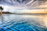 The infinity pool at the Waikiki Sheraton Hotel with Diamond Head in the background.