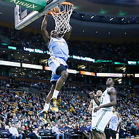 10 February 2013: Denver Nuggets small forward Kenneth Faried (35) goes for the dunk during the Boston Celtics 118-114 3OT victory over the Denver Nuggets at the TD Garden, Boston, Massachusetts, USA.