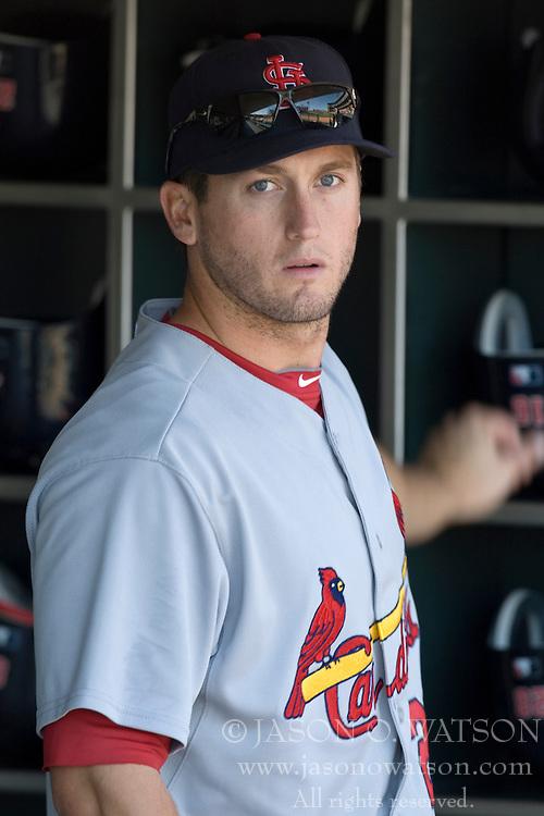 April 25, 2010; San Francisco, CA, USA;  St. Louis Cardinals third baseman David Freese (23) before the game against the San Francisco Giants at AT&T Park. St. Louis defeated San Francisco 2-0.