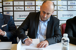 Milan Meza during press conference when Zeljko Babic signs as new head coach of RK Gorenje Velenje, on April 7th, 2017 in Velenje, Slovenia. Photo by Martin Metelko / Sportida