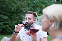 Young couple enjoying red wine at picnic, Bavaria, Germany
