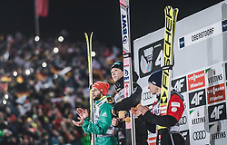 30.12.2018, Schattenbergschanze, Oberstdorf, GER, FIS Weltcup Skisprung, Vierschanzentournee, Oberstdorf, Siegerehrung, im Bild 2. Platz Markus Eisenbichler (GER), Sieger Ryoyu Kobayashi (JPN), 3. Platz Stefan Kraft (AUT) // 2nd placed Markus Eisenbichler of Germany Winner Ryoyu Kobayashi of Japan 3rd placed Stefan Kraft of Austria during the winner Ceremony for the Four Hills Tournament of FIS Ski Jumping World Cup at the Schattenbergschanze in Oberstdorf, Germany on 2018/12/30. EXPA Pictures © 2018, PhotoCredit: EXPA/ JFK