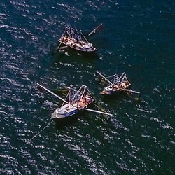 Aerial view of Shrimping Boats in the Gulf of Mexico outside of Louisiana