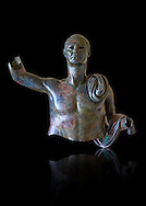 Upper part of a monumental Roman statue of an unknown person possibly a Roman magistrate of Imperial Rome , circa 40BC, inv 15055 Vatican Museum Rome, Italy, black background ..<br /> <br /> If you prefer to buy from our ALAMY STOCK LIBRARY page at https://www.alamy.com/portfolio/paul-williams-funkystock/greco-roman-sculptures.html . Type -    Vatican    - into LOWER SEARCH WITHIN GALLERY box - Refine search by adding a subject, place, background colour, museum etc.<br /> <br /> Visit our CLASSICAL WORLD HISTORIC SITES PHOTO COLLECTIONS for more photos to download or buy as wall art prints https://funkystock.photoshelter.com/gallery-collection/The-Romans-Art-Artefacts-Antiquities-Historic-Sites-Pictures-Images/C0000r2uLJJo9_s0c