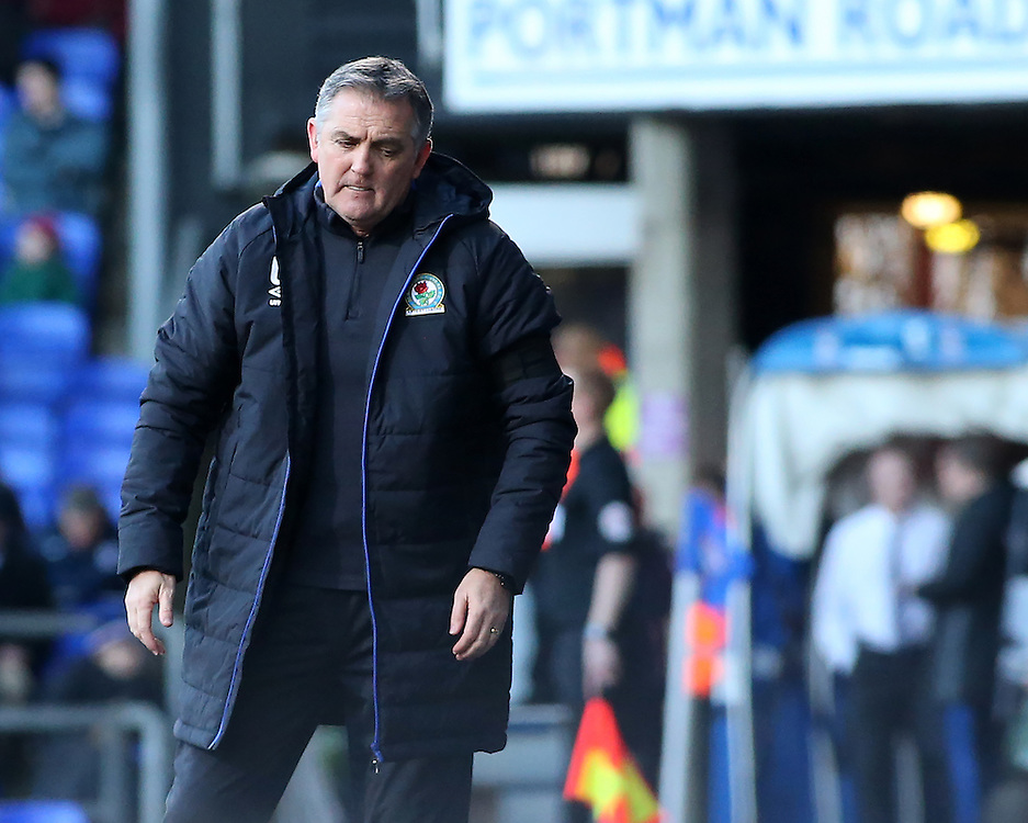 Blackburn Rovers manager Owen Coyle cuts a frustrated figure during the first half<br /> <br /> Photographer David Shipman/CameraSport<br /> <br /> The EFL Sky Bet Championship - Ipswich Town v Blackburn Rovers - Saturday 14th January 2017 - Portman Road - Ipswich<br /> <br /> World Copyright © 2017 CameraSport. All rights reserved. 43 Linden Ave. Countesthorpe. Leicester. England. LE8 5PG - Tel: +44 (0) 116 277 4147 - admin@camerasport.com - www.camerasport.com