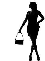 one stylish silhouette caucasian beautiful woman waiting holding purse full length on studio isolated white background