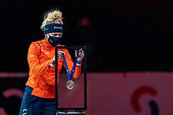 Xandra Velzeboer of Netherlands bronze medal on 1500 meter during ceremony ISU World Short Track speed skating Championships on March 06, 2021 in Dordrecht
