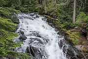 Water tumbles 34 feet down a gradual cascade at Madcap Falls on Paradise River at Mt Rainier National Park.