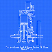 design of Roots' Single Cylinder Carriage Oil Motor from the book ' Motor cars; or, Power carriages for common roads ' by Alexander James Wallis-Tayler,  Published in London, by Crosby Lockwood & son 1897. The Roots Blower Company was an American engineering company based in Connersville, Indiana. It was founded in 1859 by the inventors Philander Higley Roots and Francis Marion Roots. It is notable for the Roots blower, a type of pump. Today, Roots blowers are mainly used as air pumps in superchargers for internal combustion engines; they were first used in blast furnaces to blow combustion air to melt iron