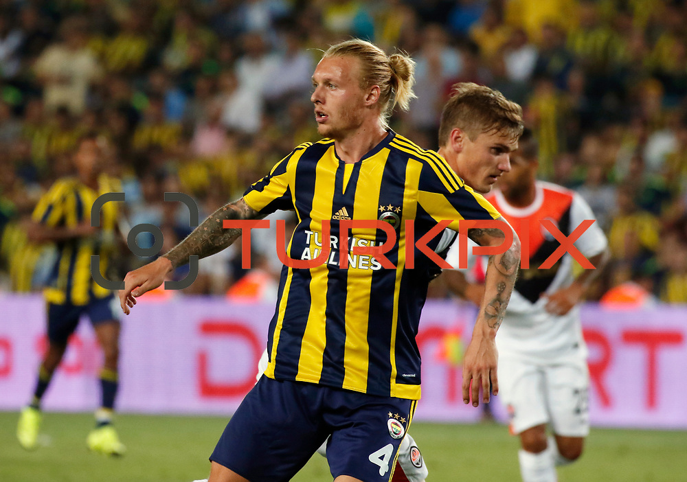 Fenerbahce's Kjær during their UEFA Champions league third qualifying round first leg soccer match Fenerbahce between Shakhtar Donetsk at the Sukru Saracaoglu stadium in Istanbul Turkey on Tuesday 28 July 2015. Photo by Aykut AKICI/TURKPIX