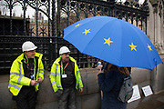Anti Brexit protester carrying a European Union flag umbrella chats to workmen in Westminster outside Parliament on 22nd January 2020 in London, England, United Kingdom. With a majority Conservative government in power and Brexit day at the end of January looming, the role of these protesters is now to demonstrate in the hope of the softest Brexit deal possible.