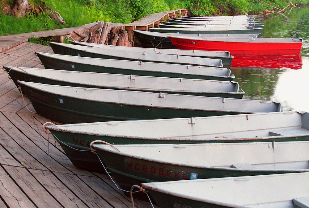 ROWBOATS FOR RENT AT TAHQUAMENON FALLS STATE PARK NEAR NEWBERRY MICHIGAN.