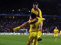 Photo: Paul Thomas.<br />PSV Eindhoven v Liverpool. UEFA Champions League, Quarter Final, 1st Leg. 03/04/2007.<br /><br />Steven Gerrard (R) and Liverpool celebrate his goal.