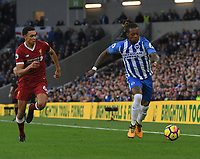 Liverpool's Trent Alexander-Arnold (left) battles with Brighton & Hove Albion's Gaetan Bong (right) <br /> <br /> Brighton 1 - 5 Liverpool<br /> <br /> Photographer David Horton/CameraSport<br /> <br /> The Premier League -  Brighton and Hove Albion v Liverpool - Saturday 2nd December 2017 - The Amex Stadium - Brighton<br /> <br /> World Copyright © 2017 CameraSport. All rights reserved. 43 Linden Ave. Countesthorpe. Leicester. England. LE8 5PG - Tel: +44 (0) 116 277 4147 - admin@camerasport.com - www.camerasport.com