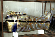 Golden sarcophagus of the Pharoah Tutenkhamen (Tut'ankhamun) dc1340 BC. Photograph.