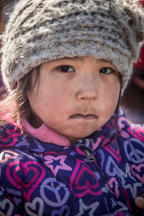 Five year old Roseanne Lane at Unagsiksiksauq (Clan Boat Celebration), Qagruq (Whaling Feast), Point Hope, The Purchase Centennial Poject