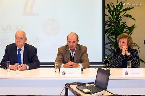 Jacky Buchmann, Mark Philips, Sjef Janssen<br /> Voorstelling nieuwe bondscoaches<br /> BOIC - Brussel 2013<br /> © Dirk Caremans