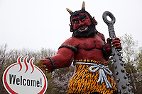 Oni are creatures from Japanese folklore, variously called demons, devils, ogres or trolls. They are popular characters in Japanese art, literature and theatre. Depictions of oni vary widely but usually portray them as hideous, gigantic creatures with sharp claws, wild hair, and two long horns growing from their heads. They are humanoid for the most part, but occasionally, they are shown with unnatural features such as odd numbers of eyes or extra fingers and toes. Their skin may be any number of colors, but red and blue are particularly common.