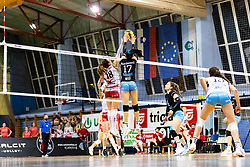 Andela Veselinovic of Nova KBM Branik and Andjelka Radiskovic of Calcit Volley during 3rd Leg Volleyball match between Calcit Volley and Nova KBM Maribor in Final of 1. DOL League 2020/21, on April 17, 2021 in Sportna dvorana, Kamnik, Slovenia. Photo by Matic Klansek Velej / Sportida