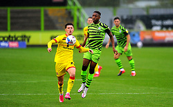 Rory Holden of Walsall under pressure from Ebou Adams of Forest Green Rovers- Mandatory by-line: Nizaam Jones/JMP - 03/10/2020 - FOOTBALL - the innocent [insert name here] stadium - Nailsworth, England - Forest Green Rovers v Walsall - Sky Bet League Two