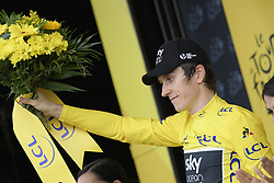 July 20, 2018 - Valence, FRANCE - British Geraint Thomas of Team Sky wearing the yellow jersey of overall leader celebrates on the podium after the 13th stage in the 105th edition of the Tour de France cycling race, from Bourg d'Oisans to Valence (169,5 km), France, Friday 20 July 2018. This year's Tour de France takes place from July 7th to July 29th...BELGA PHOTO YORICK JANSENS (Credit Image: © Yorick Jansens/Belga via ZUMA Press)