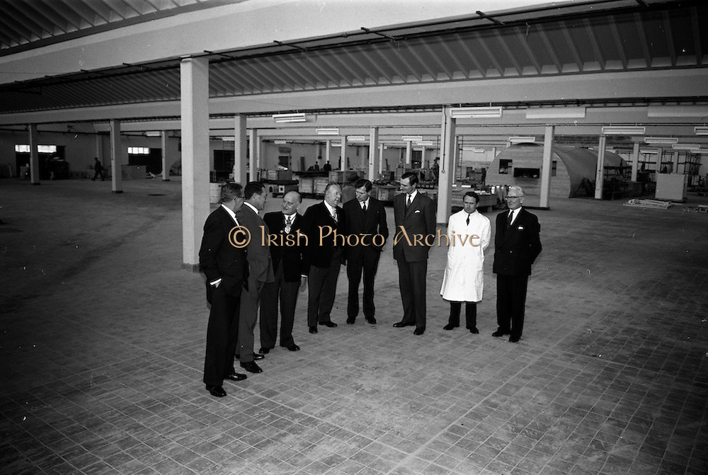 7/04/1963<br /> 04/17/1963<br /> 17 April 1963<br /> Lord Mayor of Birmingham visits Fry-Cadbury factory, Colock, Malahide Road, Dublin. Viewing the new extension to the factory are (l-r):  Arthur Lyle;; Richard Godsil; Lord Mayor of Birmingham, Ernest Horton; Lord Mayor of Dublin, J.J. O'Keeffe; Raymond Sellers Peter Quinlan;  a Cadburys technician and  V.M. Woods.