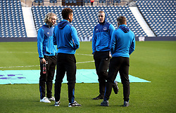 Everton's (left-right) Tom Davies, Mason Holgate, goalkeeper Jordan Pickford and Jonjoe Kenny inspect the pitch before the Premier League match at The Hawthorns, West Bromwich.