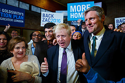 © Licensed to London News Pictures. 07/04/2016. London, UK. Current Mayor of London BORIS JOHNSON and Conservative's Mayor of London candidate ZAC GOLDSMITH holding a mayoral rally at Christ Church in Wanstead, east London on Thursday, 7 April 2016. Photo credit: Tolga Akmen/LNP
