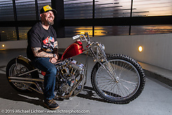 Brian Buttera with his custom Harley-Davidson Shovelhead that won him this trip to the Swiss-Moto show when he won the Rat's Hole Show in Sturgis last summer. The icing on the cake was that he won Best of Show at this Swiss Moto, which won him another trip, this time to the upcoming Custom Show Emirates in Abu Dhabi. (and Brian just got his first passport ever!) Photographed at the Swiss-Moto Customizing and Tuning Show. Zurich, Switzerland. Sunday, February 24, 2019. Photography ©2019 Michael Lichter.