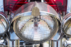 Harley-Davidson Panhead headlight detail taken at the AMCA (Antique Motorcycle Club of America) Sunshine Chapter National Meet in New Smyrna Beach during Daytona Beach Bike Week. FL. USA. Saturday March 11, 2017. Photography ©2017 Michael Lichter.