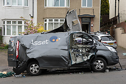 April 28, 2017 - Bristol, Bristol, UK - Bristol, UK. Damage to a van caused by an exploding gas cylinder in the Redland area of Bristol this morning. A man was taken to hospital to be treated for his injuries after an explosion in a van. (Credit Image: © Simon Chapman/London News Pictures via ZUMA Wire)