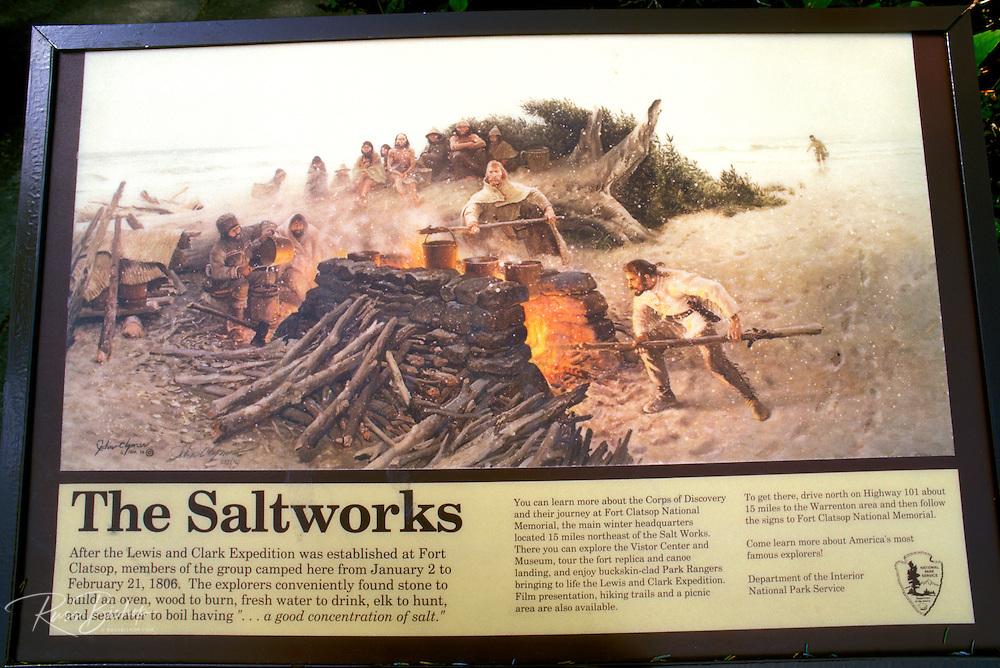 Interpretive sign at the historic Lewis and Clark Salt Works in Seaside, Fort Clatsop National Memorial, Oregon