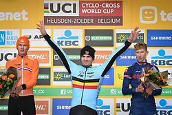 December 26, 2018 - Heusden-Zolder, BELGIUM - Dutch Luke Verburg, Belgian Ryan Cortjens and British Lewis Askey pictured on the podium after the men junior race of the seventh stage (out of nine) in the World Cup cyclocross, Wednesday 26 December 2018 in Heusden-Zolder, Belgium. BELGA PHOTO DAVID STOCKMAN (Credit Image: © David Stockman/Belga via ZUMA Press)