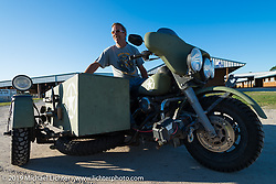 Doug Wothke at the AMCA swap meet in New Smyrina, FL during Daytona Bike Week, FL., USA. March 8, 2014.  Photography ©2014 Michael Lichter.