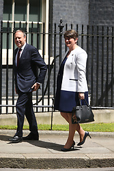 © Licensed to London News Pictures. 13/06/2017. London UK. DUP leader Arlene Foster arriving at number 10 today for a meeting with Theresa May for talks on a deal to prop up a Tory minority administration.Photo credit: Andrew McCaren/LNP