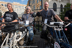 Thor Losers Doug Feinsod (L) of California riding on 1913 Thor next to Dan Kraft (middle) on his 1913 Thor and Dan's son Todd Kraft on his 1914 Thor on the Atlantic City boardwalk at the start of the Motorcycle Cannonball Race of the Century. Stage-1 from Atlantic City, NJ to York, PA. USA. Saturday September 10, 2016. Photography ©2016 Michael Lichter.