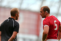 Rugby Union - 2019 pre-Rugby World Cup warm-up (Guinness Summer Series) - Ireland vs. Wales<br /> <br /> Alun Wyn Jones (c) (Wales) speaks to Wayne Barnes during the game at The Aviva Stadium.<br /> <br /> COLORSPORT/KEN SUTTON