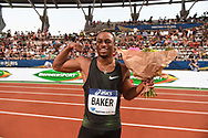 Ronnie Baker (USA) celebrates his victory in Men's 100m during the Meeting de Paris 2018, Diamond League, at Charlety Stadium, in Paris, France, on June 30, 2018 - Photo Jean-Marie Hervio / KMSP / ProSportsImages / DPPI