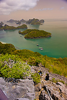 Hiking to the top of Ko Wua Talap, one of the islands in the Angthong National Marine Park (42 limestone islands) near Koh Samui (island), Gulf of Thailand, Thailand