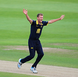 Oliver Hannon-Dalby of Warwickshire appeals for the wicket of Jim Allenby.  - Mandatory by-line: Alex Davidson/JMP - 29/08/2016 - CRICKET - Edgbaston - Birmingham, United Kingdom - Warwickshire v Somerset - Royal London One Day Cup semi final