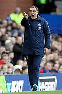 Chelsea Manager Maurizio Sarri during the Premier League match between Everton and Chelsea at Goodison Park, Liverpool, England on 17 March 2019.