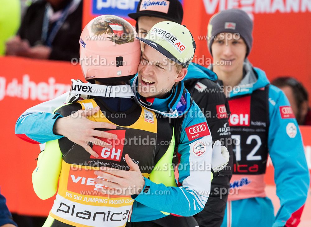Stefan Kraft of Austria and Michael Hayboeck of Austria during the Ski Flying Hill Individual Competition on Day Two of FIS Ski Jumping World Cup Final 2017, on March 24, 2017 in Planica, Slovenia. Photo by Vid Ponikvar / Sportida