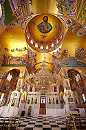 The Byzantine style frescos of the new Orthodox church of Omala. Kefalonia, Ionian Islands, Greece. .<br /> <br /> Visit our GREEK HISTORIC PLACES PHOTO COLLECTIONS for more photos to download or buy as wall art prints https://funkystock.photoshelter.com/gallery-collection/Pictures-Images-of-Greece-Photos-of-Greek-Historic-Landmark-Sites/C0000w6e8OkknEb8