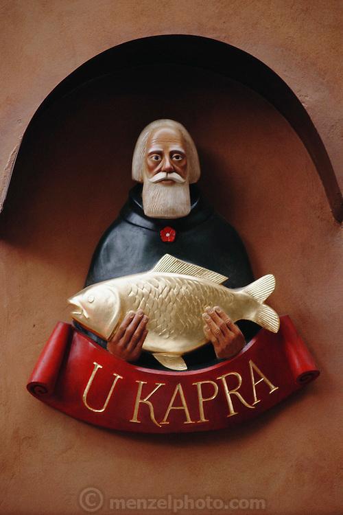 Sign on a fish restaurant in Prague, Czech Republic.
