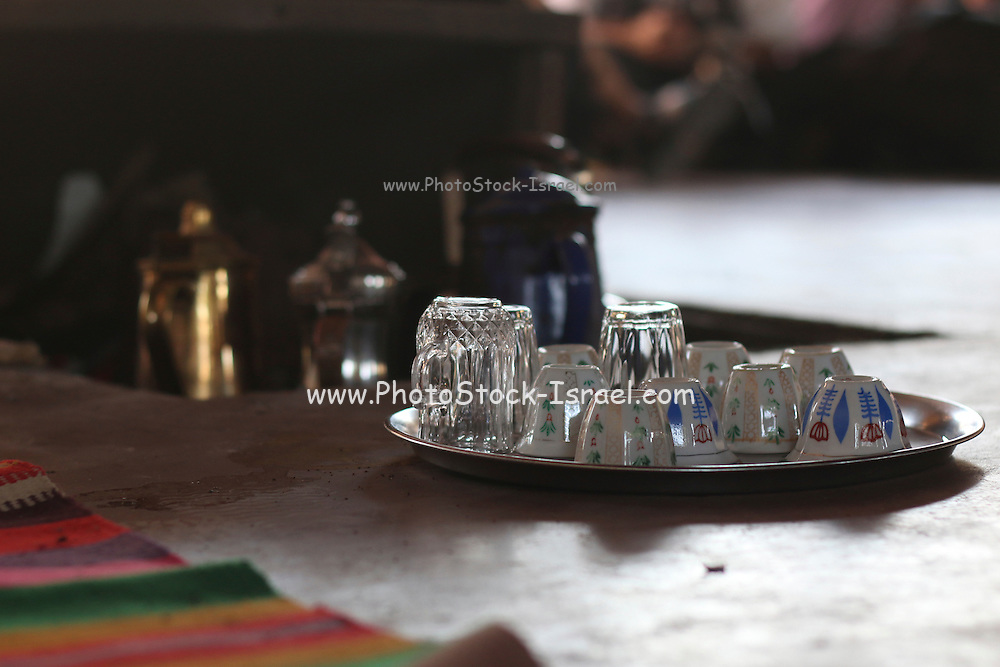 Bedouin Hospitality - serving tea to visitors. Israel, Negev Desert