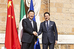 March 23, 2019 - Rome, Italy - XI JINPING, China's president (left) and GIUSEPPE CONTE, Italy's prime minister (right), arrive at Villa Madama for the memorandum of understanding on China's Belt and Road Initiative at Villa Madama in Rome. (Credit Image: © Giulia Morici/Pacific Press via ZUMA Wire)
