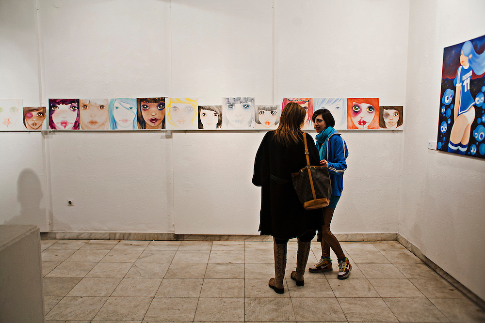Emina Kujundzic at her opening for her solo show at the new 'Novi Hram' (New Church) gallery space in Bascarsija, Sarajevo