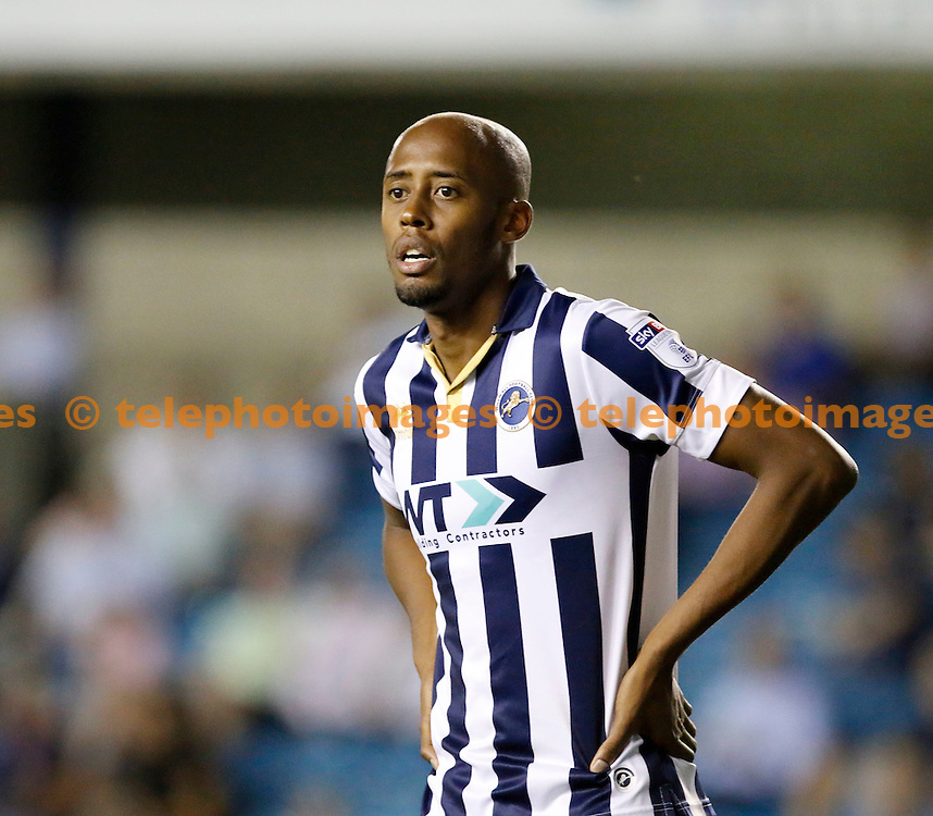 Millwall's Jimmy Adbou seen during the EFL Cup match between Millwall and Nottingham Forest at The Den in London. August 23, 2016.<br /> Carlton Myrie / Telephoto Images<br /> +44 7967 642437